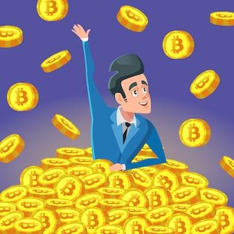 Erfolgreicher reicher geschäftsmann im stapel von bitcoin-münzen
