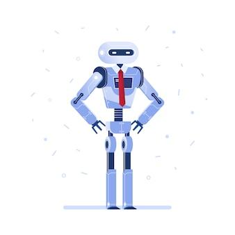 Erfolgreicher robotergeschäftsmann mit einer gleichheit.