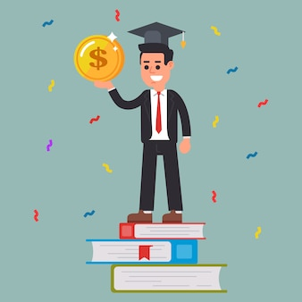 Erfolgreicher student mit einer münze in den händen.