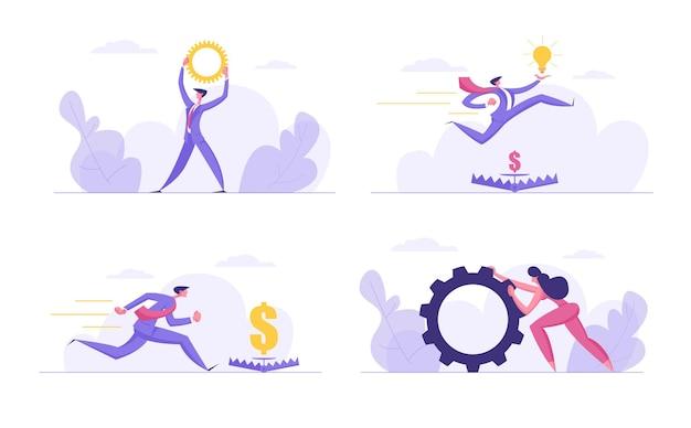 Erfolgreicher teamgeist ehrgeizig, finanzgeschäftskonzept set flache illustration