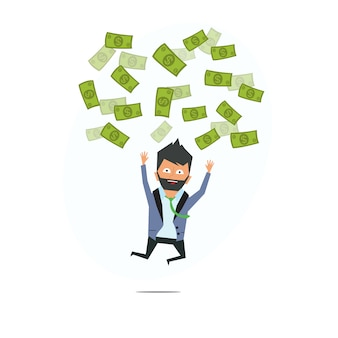 Erfolgreicher unternehmer. geld regen. erfolgreicher geschäftsmann. geld vom himmel.