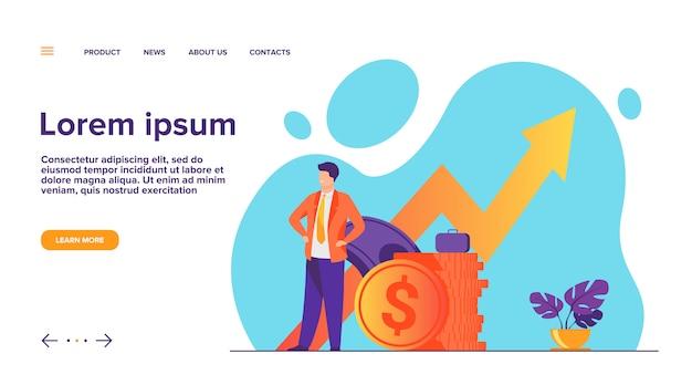 Erfolgreicher unternehmer oder investor, der stapel-geld-landingpage präsentiert