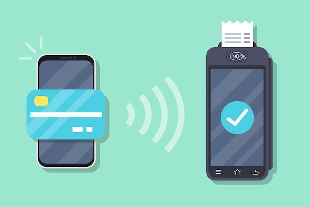 Erfolgreicher zahlungsvorgang. pos-terminal bestätigt die zahlung per smartphone. smartphone mit mobiler bezahlung