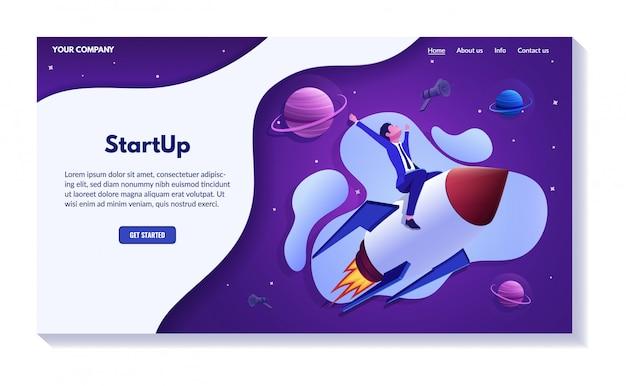 Erfolgreiches business-website-konzept, illustrationssatz