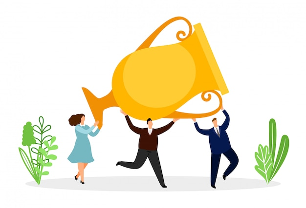Erfolgreiches businessteam mit goldener tasse