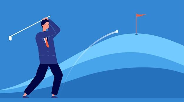 Erfolgreiches geschäft schlagen. zielgenauigkeit, geschäftsmann schlägt golfball. zielerreichungsmetapher, führungsstrategie-vektorkonzept. geschäftsmann pley golf, hobbyaktivitätsmanagerillustration