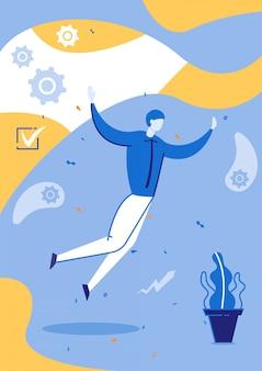 Erfolgreiches geschäftskonzept, glückliche arbeitskraft flach