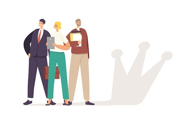 Erfolgreiches geschäftsteam männliche und weibliche charaktere posieren mit papierdokumenten und kronenschatten an der wand. menschen feiern sieg, erfolgreiches projekt, teamwork-konzept. cartoon-vektor-illustration