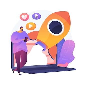 Erfolgreiches internet-marketing. daten, anwendungen, e-services, multimedia. soziales netzwerk mag und anhänger anziehungskraft bunte ikone.