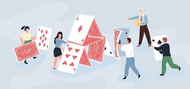 Erfolgreiches team von startup-mitarbeitern, die ein riesiges kartenhaus bauen