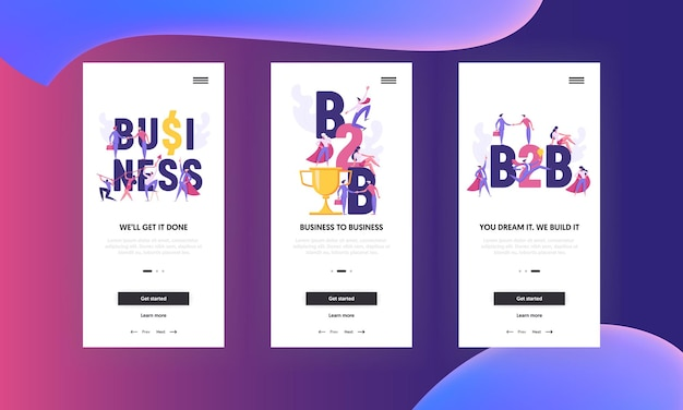 Erfolgreiches teamwork b2b ambitioniertes geschäftskonzept für mobile app screen set
