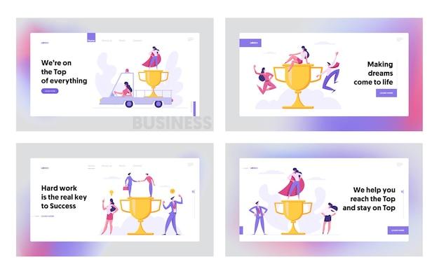 Erfolgreiches teamwork business achievement-konzept für landing page set