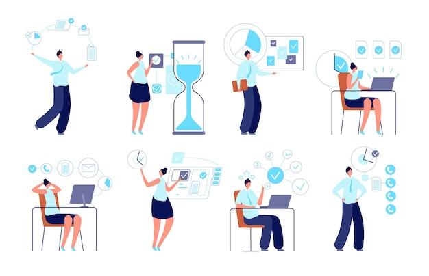 Erfolgreiches zeitmanagement. unternehmer, der aktivität organisiert, manager, der arbeit plant. aufgaben oder zeitplan, produktive bürovektorillustration. unternehmer, betriebswirt