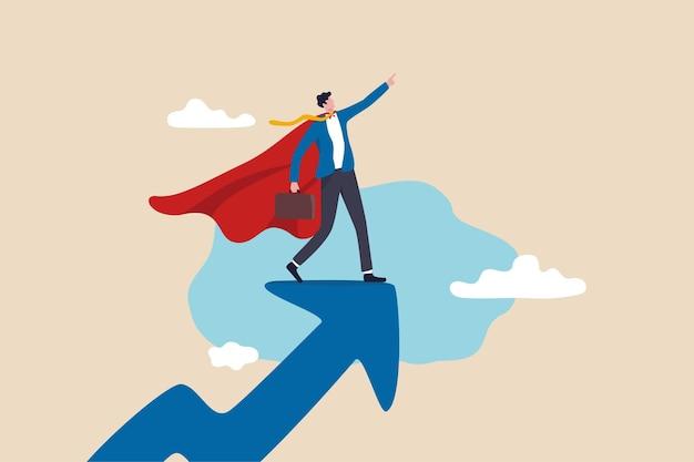 Erfolgsführer, geschäftsprofi mit superkraft, firmenheld, der erfolgreich arbeitet und ein karrierewachstumskonzept erreicht, selbstbewusster geschäftsmann-superheld mit kraftvollem rotem umhang steht auf wachstumspfeil