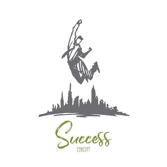 Erfolgsillustration in der hand gezeichnet