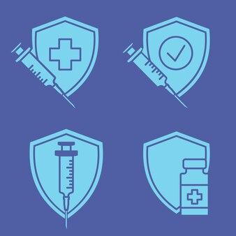 Erfolgsimpfung medizinische einwegspritze impfstofffläschchen und -schild corona-virus-impfung