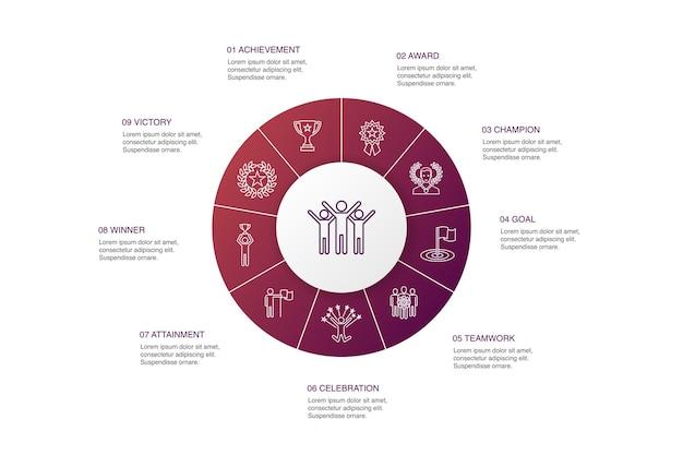 Erfolgsinfografik 10 schritte kreisdesign. leistung, champion, auszeichnung, errungenschafteneinfache symbole