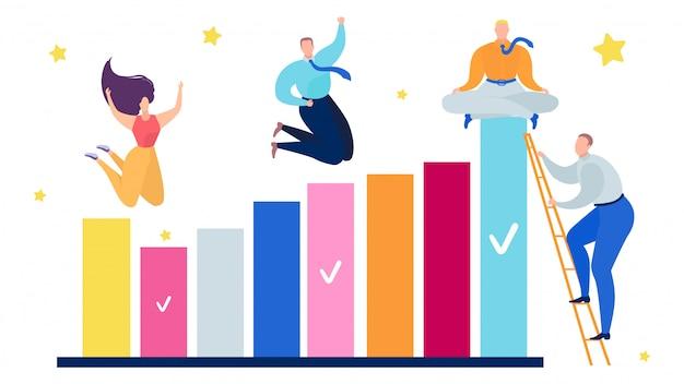 Erfolgskonzept der personenteamarbeitgraphik, illustration. grafik zur wachstumsfinanzierung des geschäftsmann- und frauenteams.
