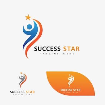 Erfolgsstern-leute-logo-vektor-bild