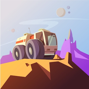 Erforschen sie fahrzeugkarikaturhintergrund mit planetenerforschungssymbol-vektorillustration