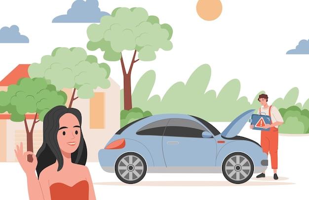 Erfreute frau, die ok zeigt, reparaturmann, der auto motorprobleme illustration repariert