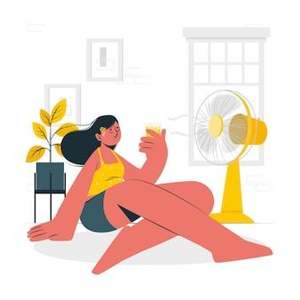 Erfrischend von der sommerhitzekonzeptillustration