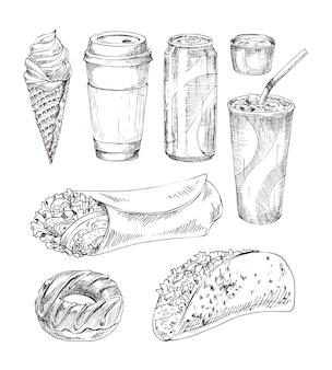 Erfrischende getränke und fast food zum mitnehmen