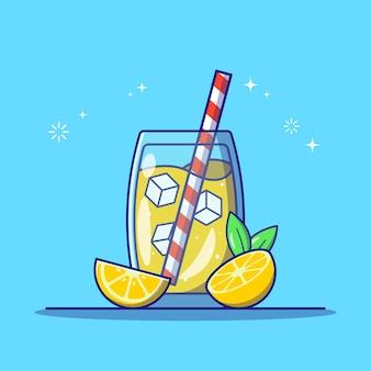 Erfrischende limonade in einem glas mit zitronenscheibe und gestreiftem stroh flach symbol vektor illustration isoliert.