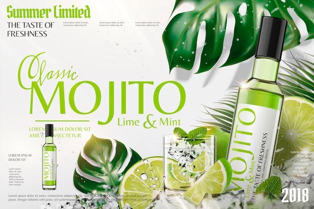 Erfrischende mojito-anzeigen mit eiswürfeln und limetten, tropischer blätterhintergrund