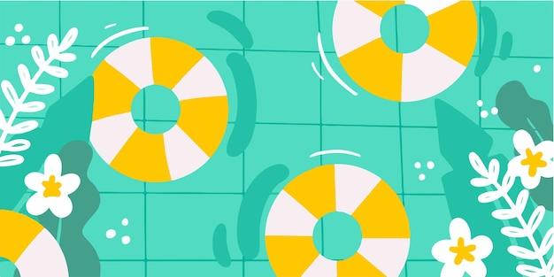 Erfrischende poolparty-doodle-illustration