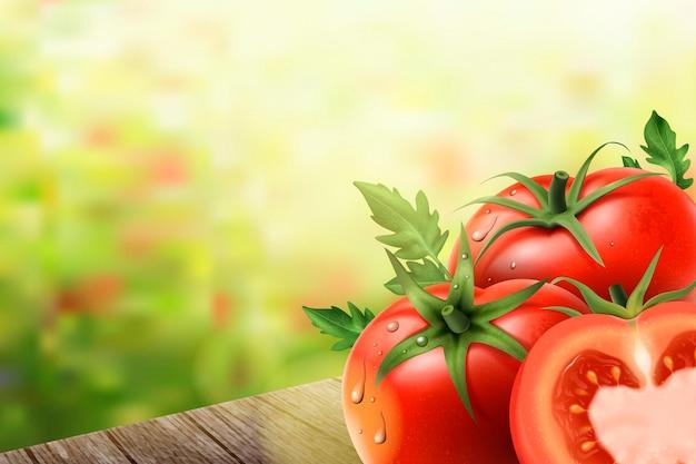 Erfrischende tomatenelemente, tomaten auf holztischen