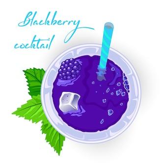 Erfrischender brombeermojito, brombeerstrauch oder kühlerer cocktail, cocktail