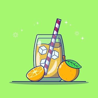 Erfrischender orangensaft in einem glas mit orangenscheibe und gestreiftem stroh flach symbol vektor-illustration isoliert.
