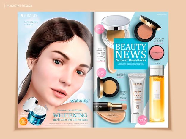 Erfrischendes kosmetisches broschürendesign, hautpflege- und make-up-produkte in zeitschrift oder katalog, schönes modell mit cremedose in 3d-illustration