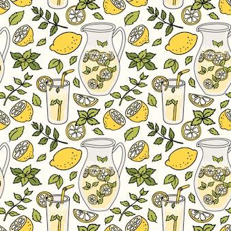 Erfrischendes nahtloses muster mit limonade