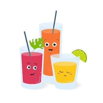 Erfrischungsgetränke in gläsern mit niedlichen lustigen gesichtern. obst- und gemüsesäfte