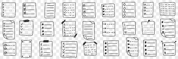 Erfüllte kontroll-checklisten-doodle-set-illustration