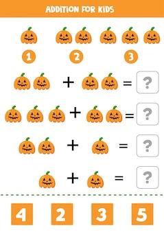 Ergänzung für kinder mit gruseligen halloween-kürbissen.