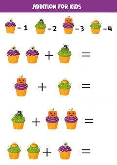 Ergänzung mit lustigen halloween cupcakes. mathe-spiele.