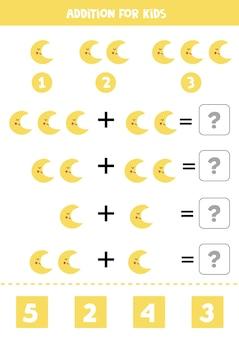Ergänzung mit niedlichem gelbem mond. pädagogisches mathe-spiel für kinder.