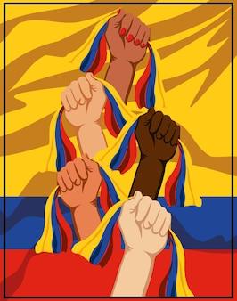 Erhobene hand kolumbien-flaggen protestieren
