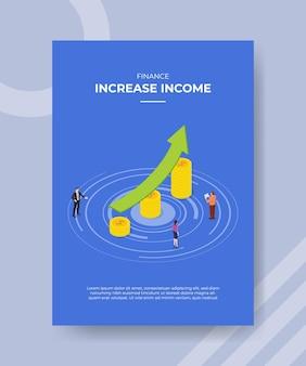 Erhöhen sie das einkommenskonzept für vorlagenbanner und flyer zum drucken