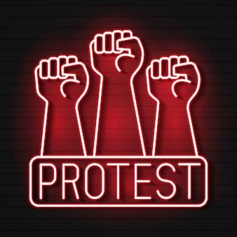 Erhöhte faust neonlicht-symbol. protest, handbewegung unterstützen. faust zeigt nach oben. leuchtendes zeichen mit symbolen.