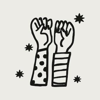 Erhöhte hände solidarität sticker collage element vektor, empowerment konzept