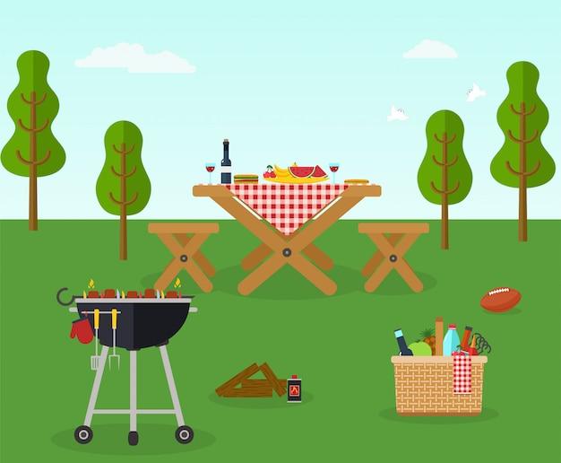 Erholung der picknick-grillparty im freien