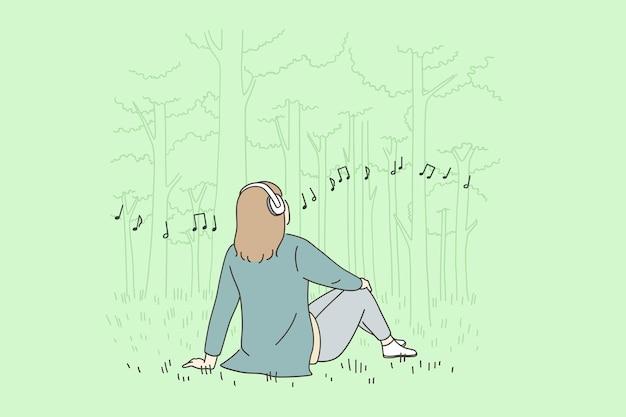 Erholung freizeit und musikkonzept hören