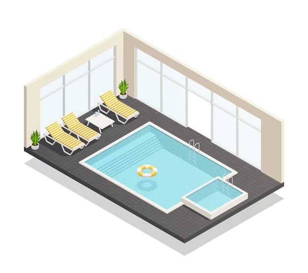 Erholungs-swimmingpool isometrisch