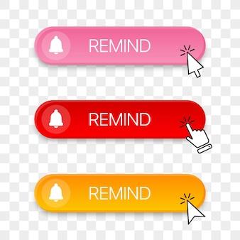 Erinnern sie die schaltflächensymbolsammlung mit verschiedenen klickenden handcursors
