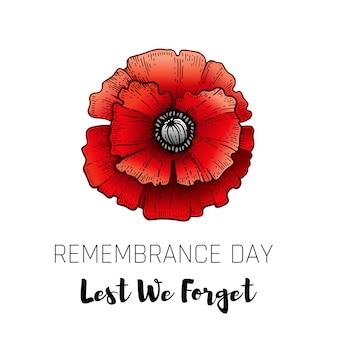 Erinnerungstagskarte mit skizzenmohn. realistisches rotes mohnblumensymbol, plakat vom 11. november mit lest we forget text. jubiläumserinnerung.