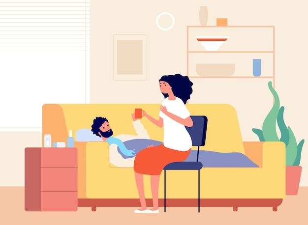 Erkältung krankheit. mannkrankheit nach hause, kranke person auf dem sofa mit husten und fieber. mädchen und grippejunge, frau behandelt freundvektorillustration. grippe erkältung, kranker mann unwohl, grippe und fieber